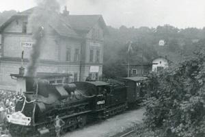 100 let trati Pardubice - Liberec v roce 1959 na nádraží Sychrov  (sbírka rodiny Janečkovy)